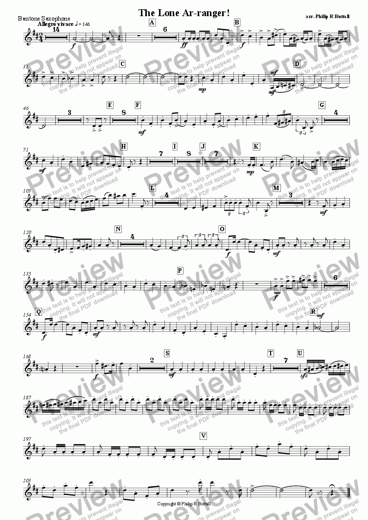 page one of the Baritone Saxophone part from The Lone Ar-ranger! (Pops Orchestra)
