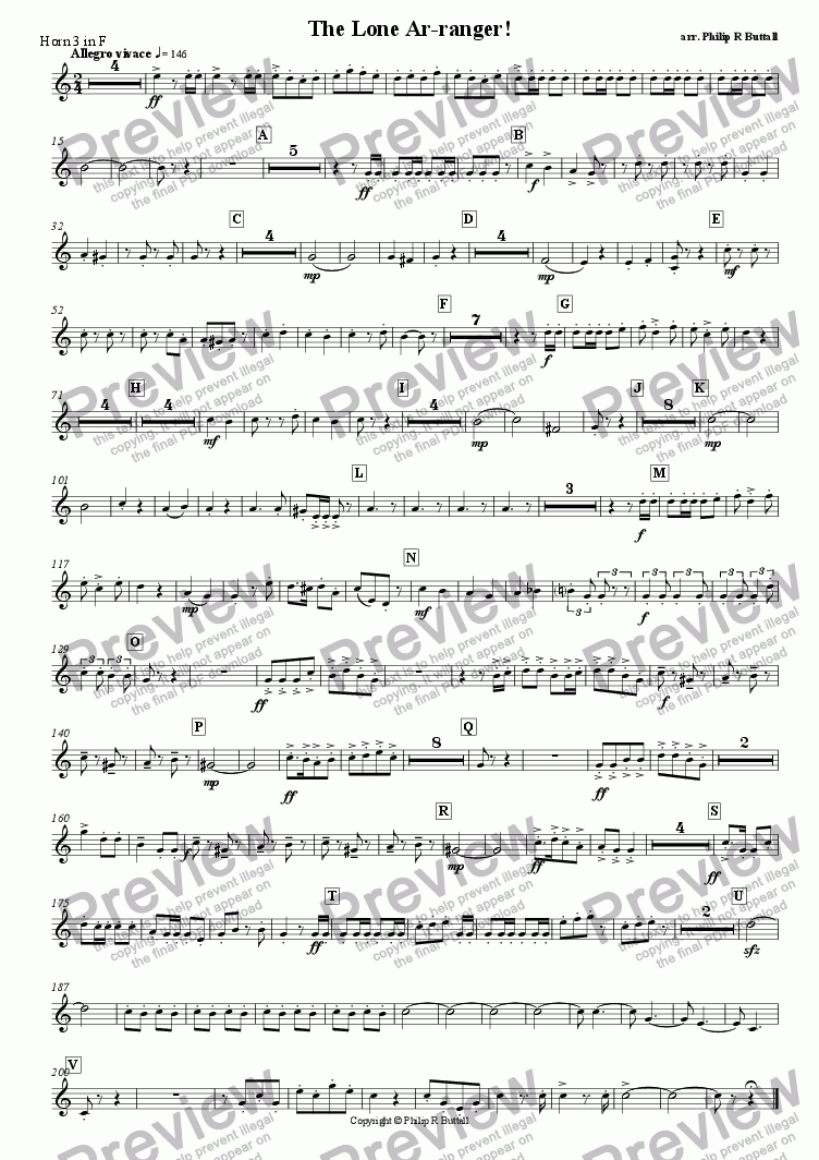 page one of the Horn 3 in F (separate) part from The Lone Ar-ranger! (Pops Orchestra)