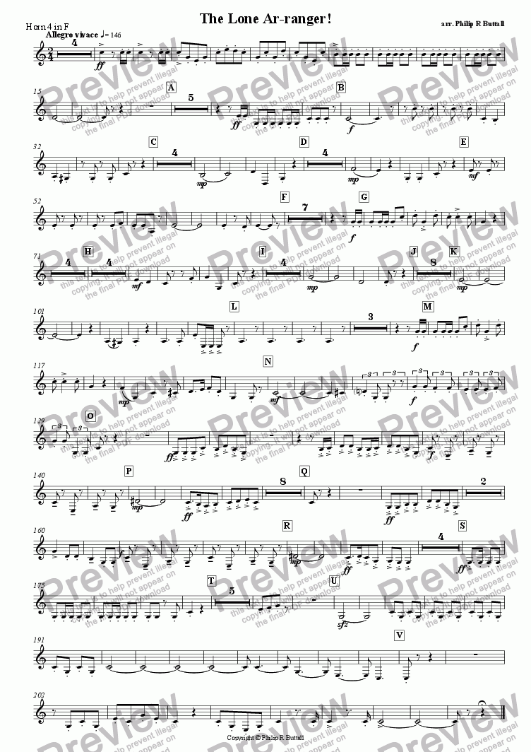 page one of the Horn 4 in F (separate) part from The Lone Ar-ranger! (Pops Orchestra)