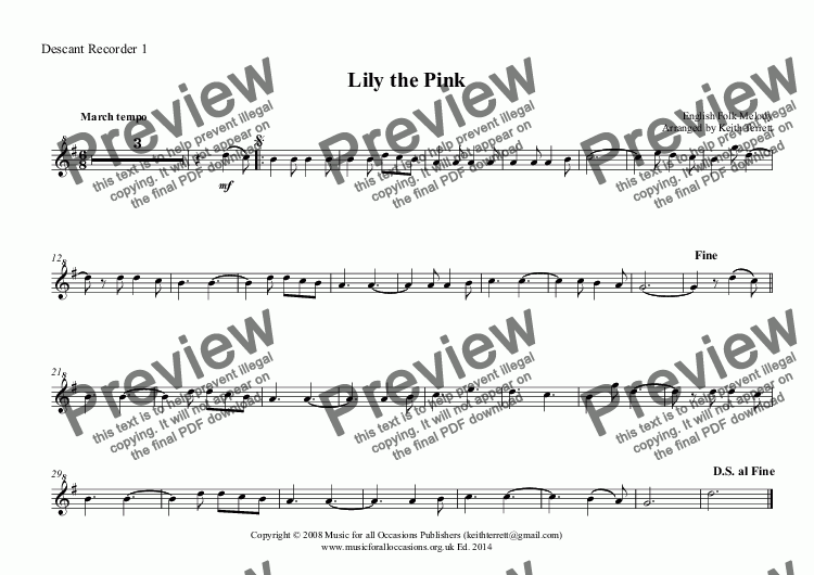 page one of the Descant Recorder 1 part from Lily the Pink for School Recorder Quartet with KB & Drums