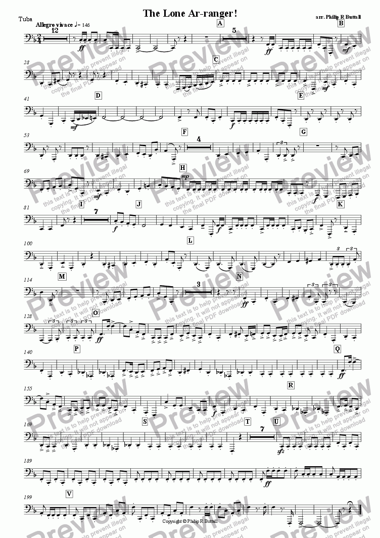 page one of the Tuba part from The Lone Ar-ranger! (Pops Orchestra)