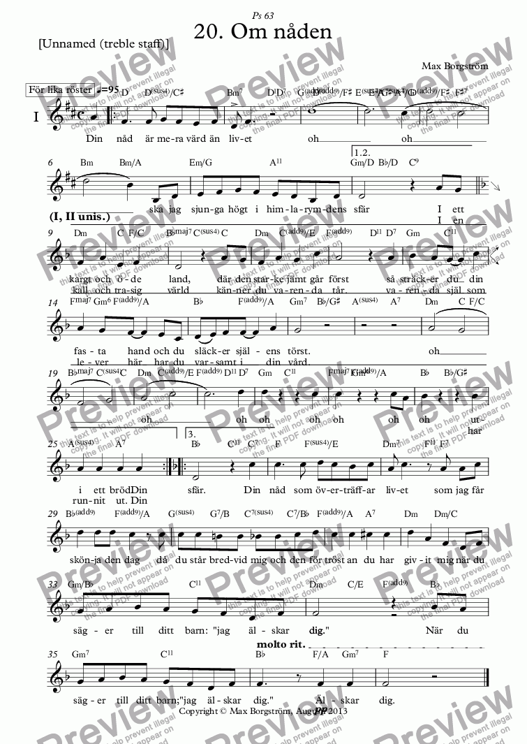 page one of the [Unnamed (treble staff)] part from Om nåden