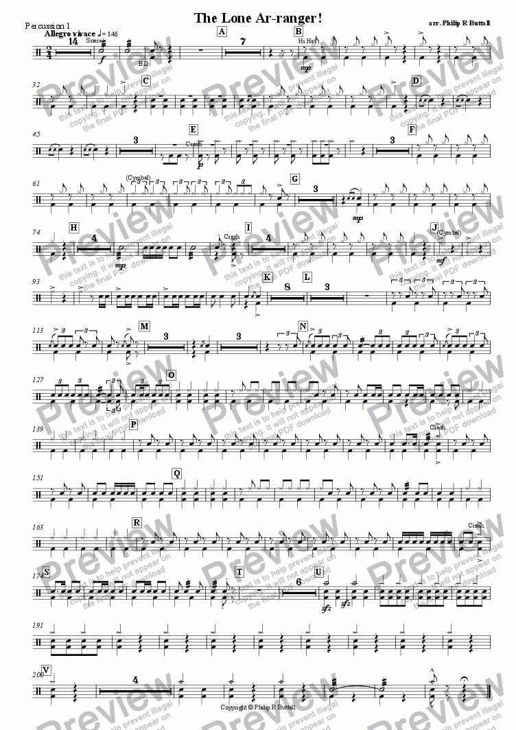 page one of the Percussion 1 part from The Lone Ar-ranger! (Pops Orchestra)