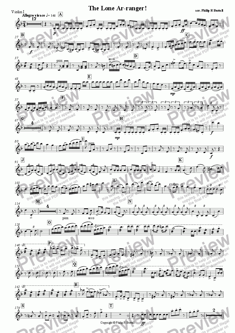 page one of the Violin I part from The Lone Ar-ranger! (Pops Orchestra)