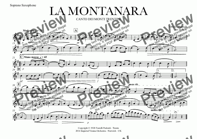 page one of the Soprano Saxophone part from LA MONTANARA