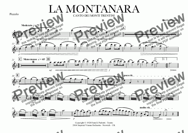 page one of the Piccolo part from LA MONTANARA