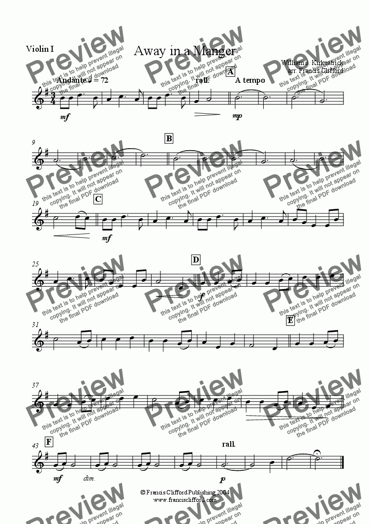 page one of the 1st Violin part from Away in a Manger (String Quartet)