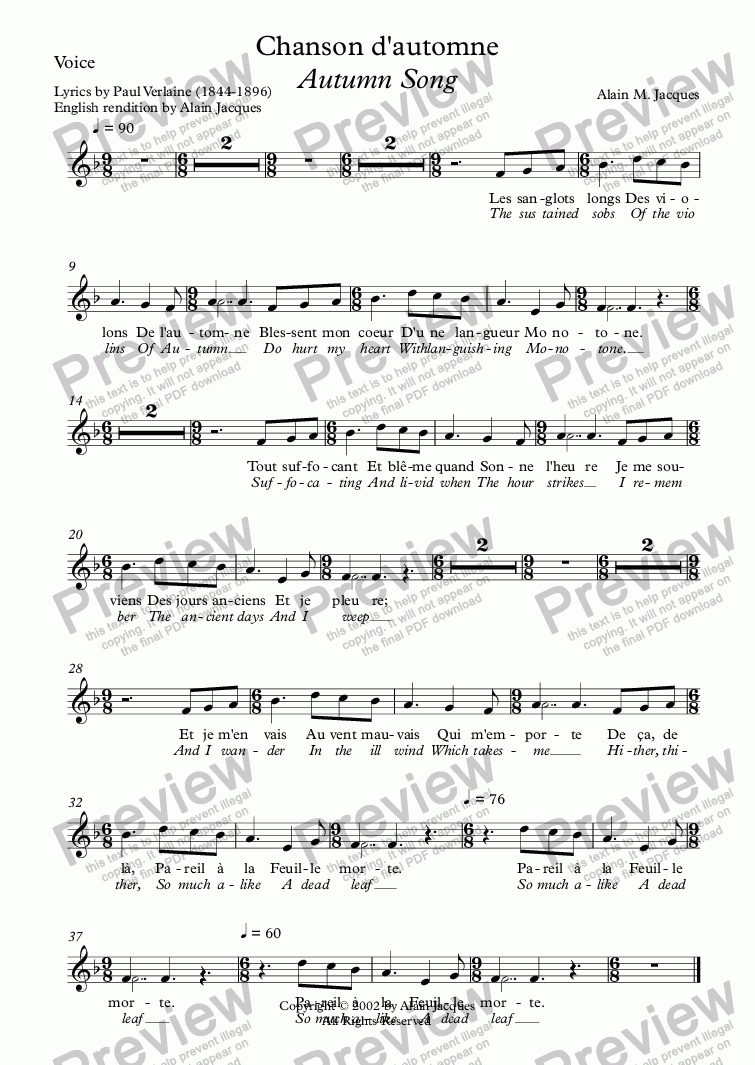 page one of the Voice part from Chanson d'automne (A. Jacques / Verlaine) - bilingual