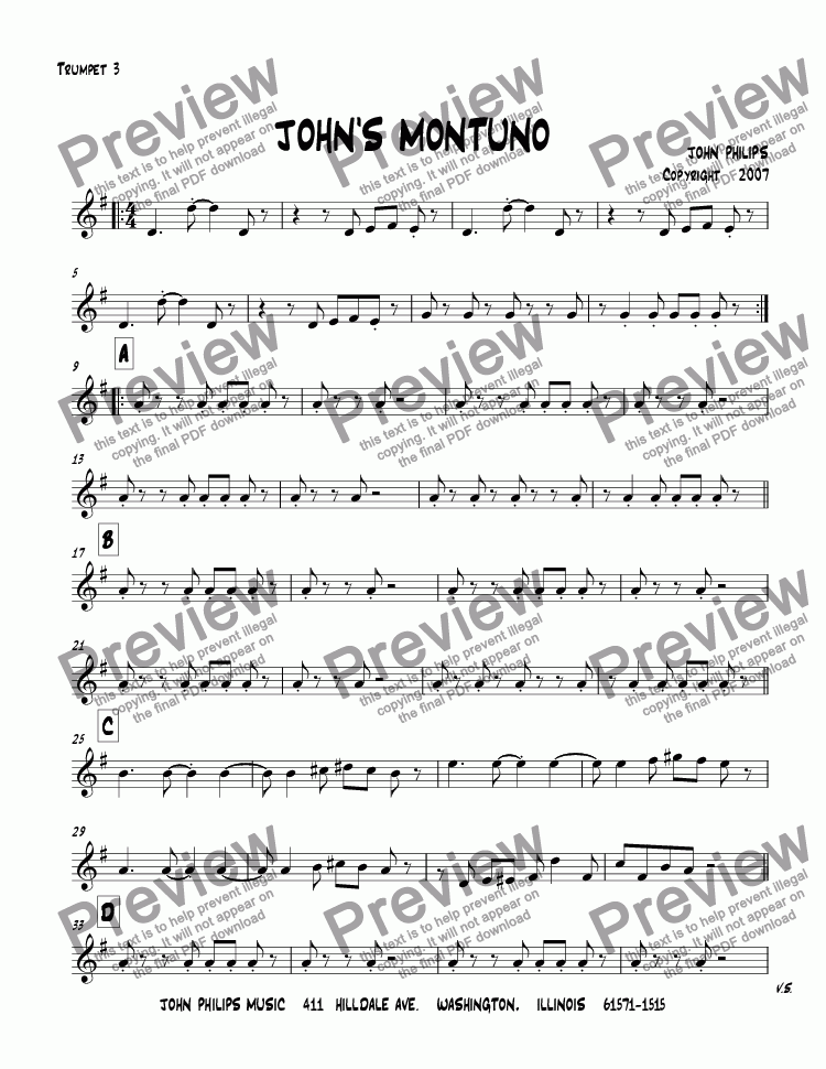 page one of the Trumpet 3 part from JOHN'S MONTUNO