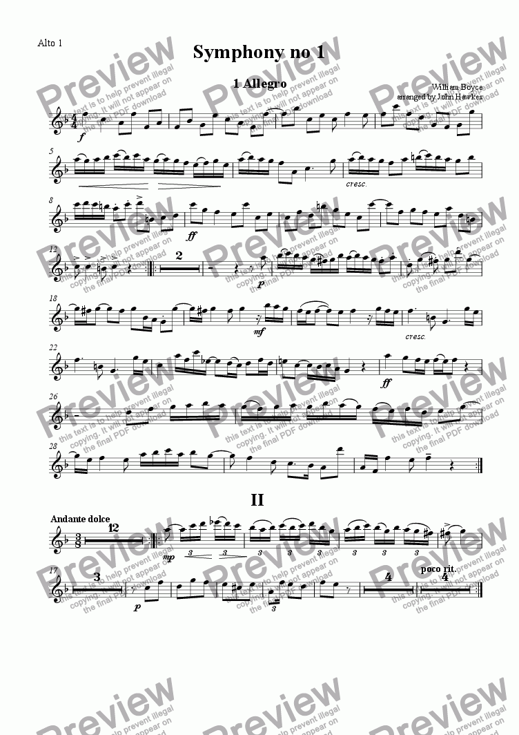 page one of the Alto 1 part from Boyce: Symphony no 1