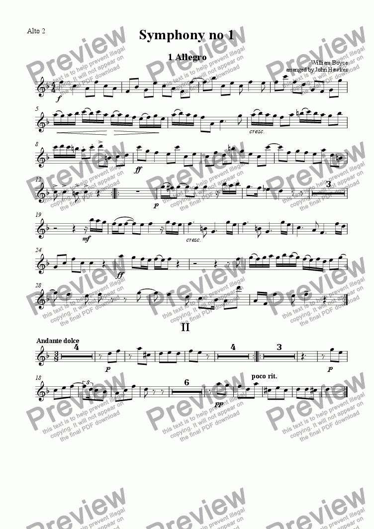 page one of the Alto 2 part from Boyce: Symphony no 1