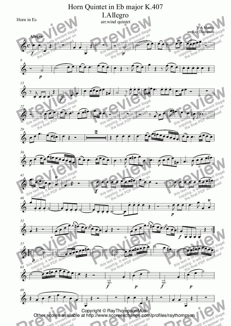 page one of the Horn in E^b part from Mozart: Horn Quintet in Eb major K.407 (complete) (arr.wind quintet)
