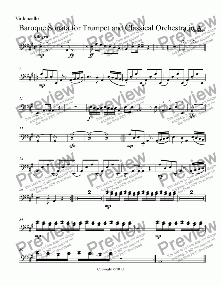 page one of the Violoncello part from Baroque Sonata for Trumpet and Classical Orchestra in A