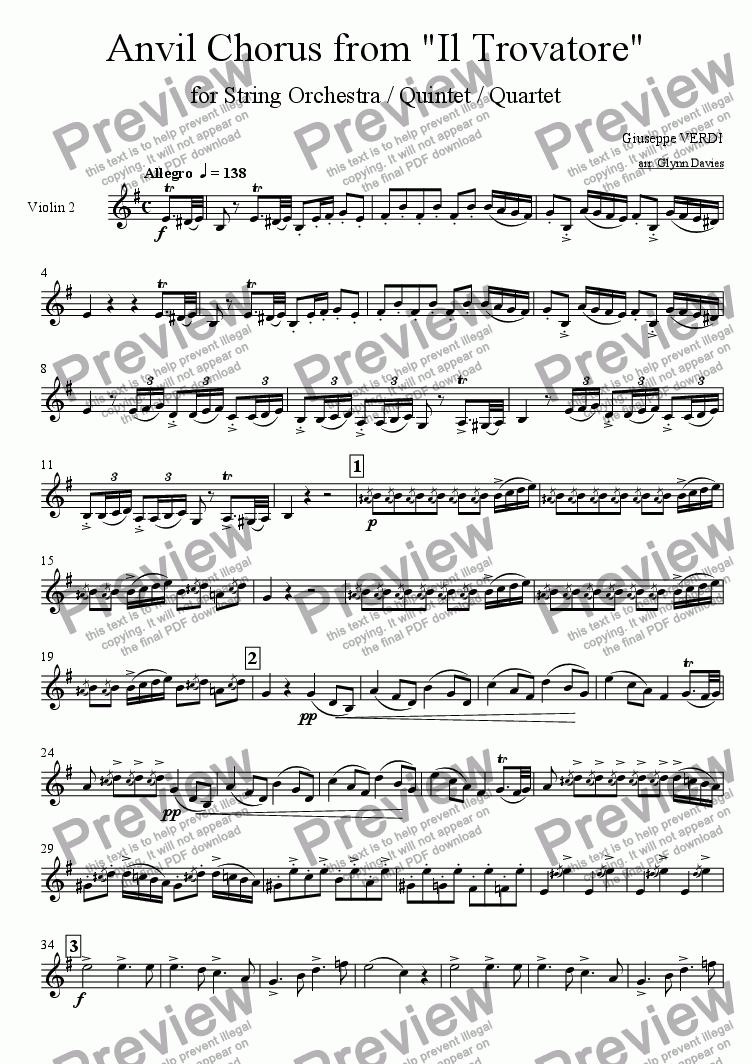 "page one of the Violin 2 part from Anvil Chorus, from ""Il Trovatore"""