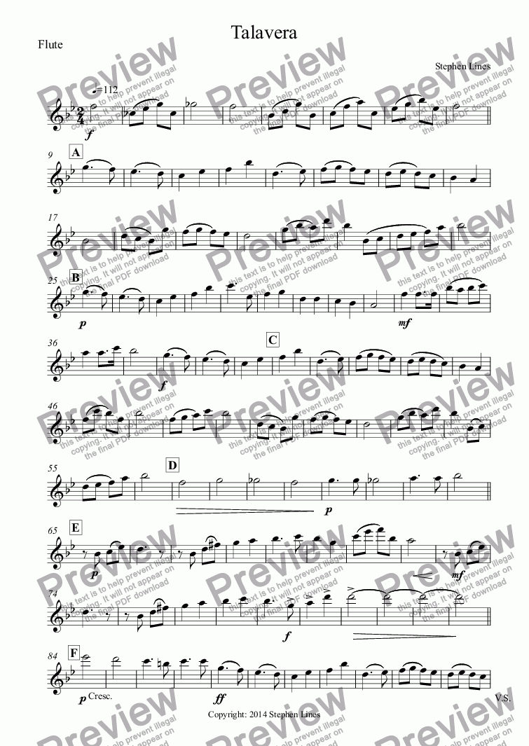 page one of the Flute part from Military Band: March - Talavera