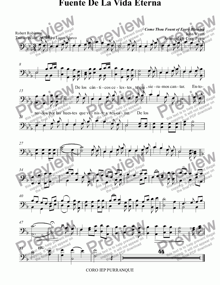 page one of the TENOR BAJO part from Fuente De La Vida Eterna