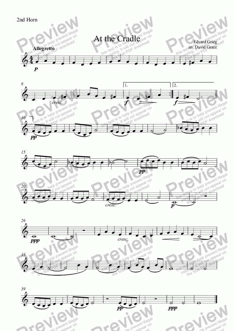 page one of the 2nd Horn part from At the Cradle [Grieg]