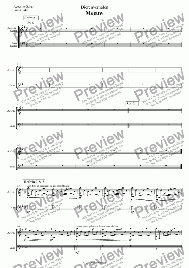 page one of the Acoustic Guitar, Bass Guitar part from Dierenverhalen - Meeuw - Orkest (Karaoke)
