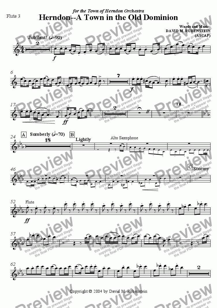 page one of the Flute 3 part from Herndon - A Town in the Old Dominion