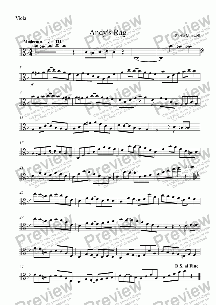 page one of the Viola part from Andy's Rag, for viola and piano