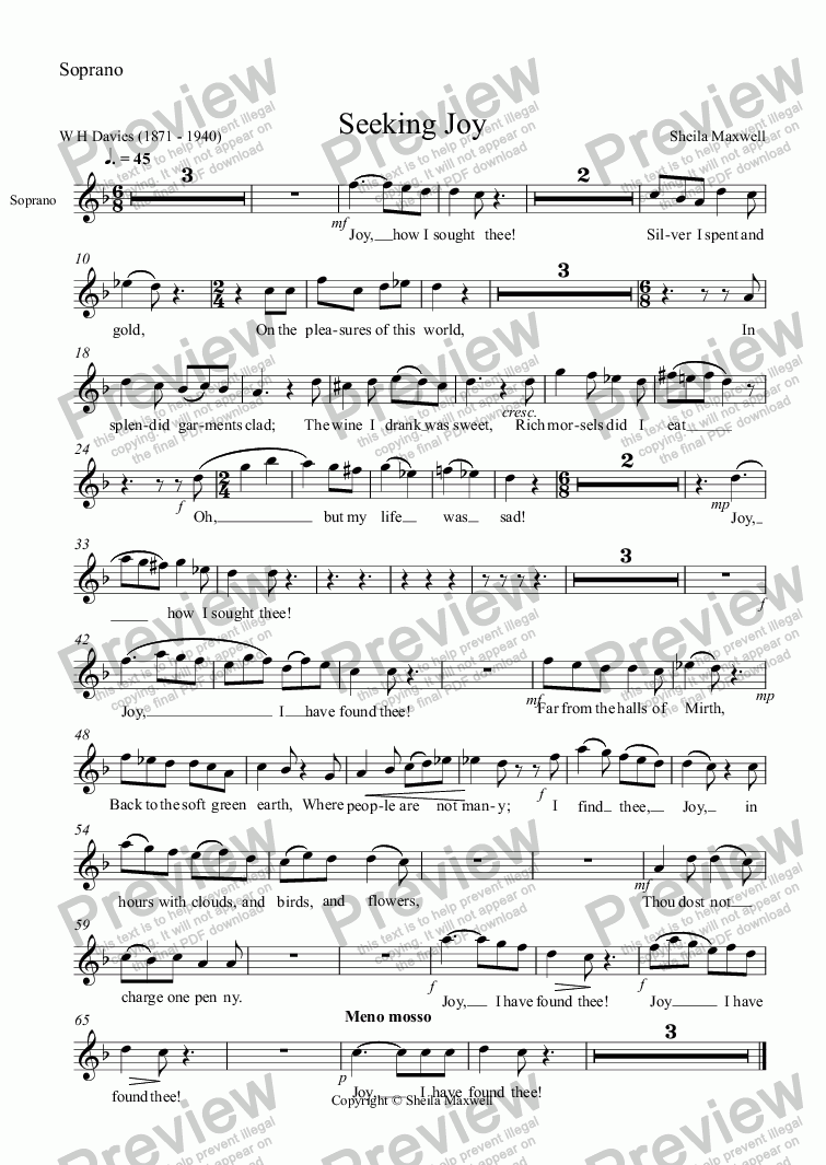page one of the Soprano part from Seeking Joy,   for soprano, clarinet and piano