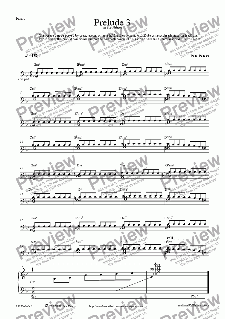page one of the Piano part from Prelude 3 [solo pno or inst + pno]