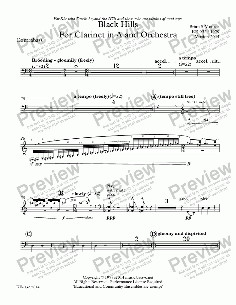 page one of the Contrabass part from Black Hills For Clarinet in A and Orchestra