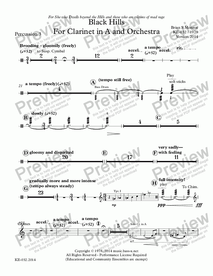 page one of the Percussion 3 part from Black Hills For Clarinet in A and Orchestra