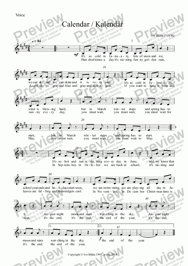 page one of the Voice part from CALENDAR for children's singing with piano/guitar (English words)