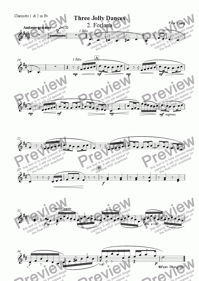 page one of the 2 Clarinets in Bb part from Three Jolly Dances - 2.  Forlana