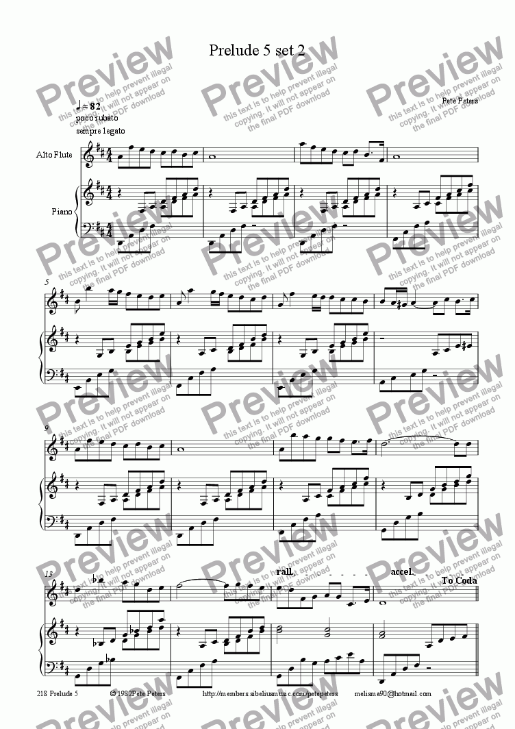 page one of the Piano part from Prelude 5 set 2 [solo inst + pno]