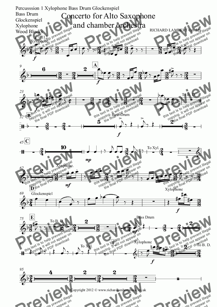 page one of the Percusssion 1 Xylophone Bass Drum Glockenspiel, Bass Drum, Glockenspiel, Xylophone, Wood Blocks part from Concerto for Alto Saxophone  and chamber orchestra