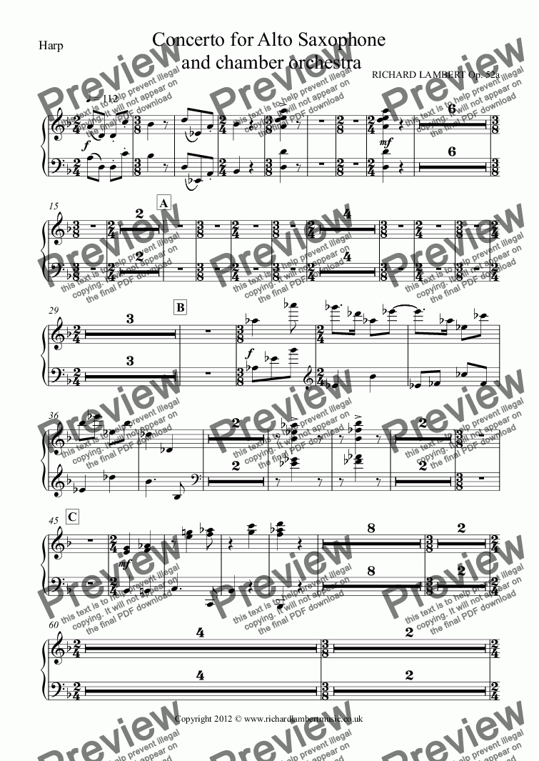 page one of the Harp part from Concerto for Alto Saxophone  and chamber orchestra