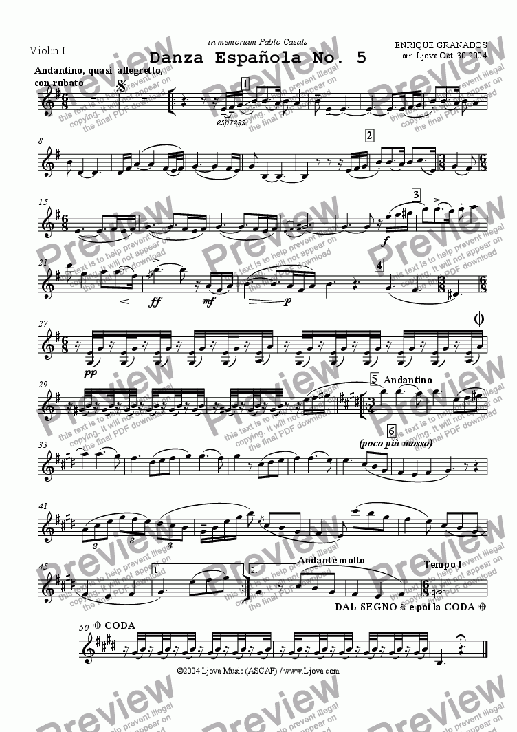 page one of the Violin I part from Spanish Dance No. 5