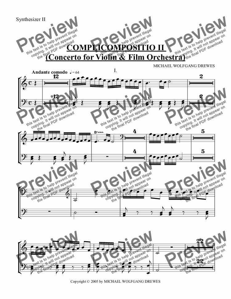 page one of the Synthesizer II part from COMPLICOMPOSITIO II  (Concerto for Violin & Film Orchestra)