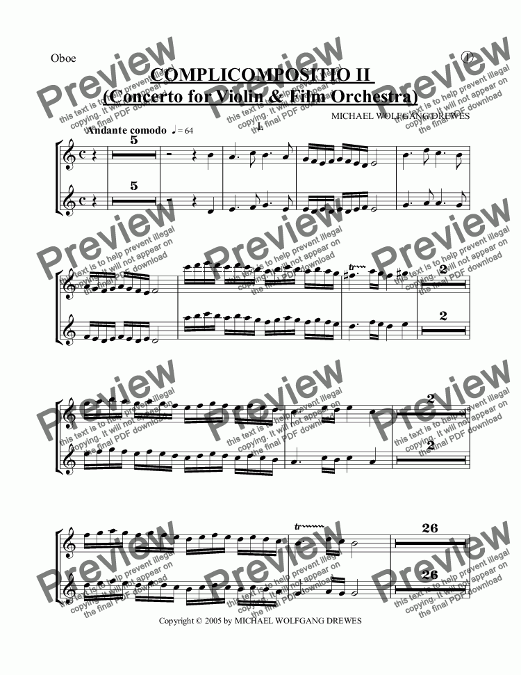 page one of the Oboe part from COMPLICOMPOSITIO II  (Concerto for Violin & Film Orchestra)