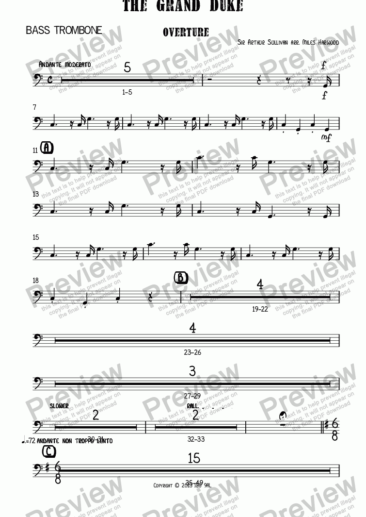 page one of the Bass Trombone part from Overture to 'The Grand Duke'