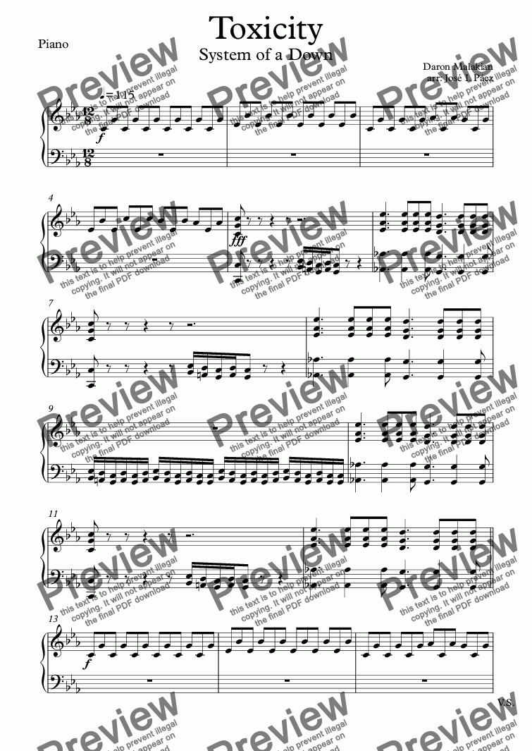page one of the Piano part from Toxicity (Cover)