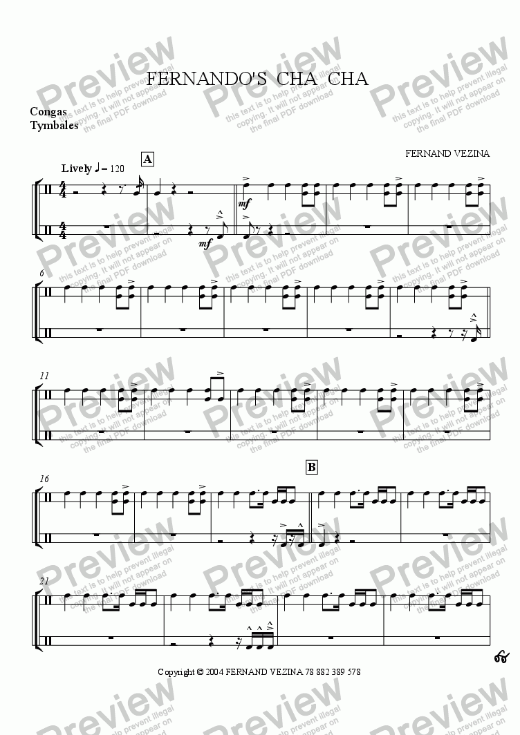 page one of the Congas part from Fernando's Cha Cha