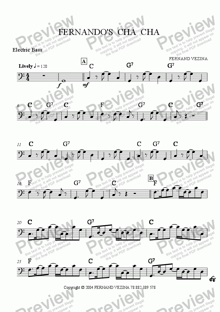 page one of the Bass part from Fernando's Cha Cha