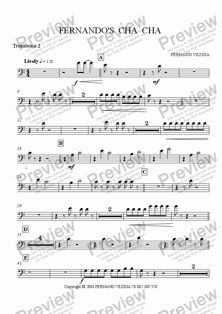 page one of the Bb Trombone 2 part from Fernando's Cha Cha