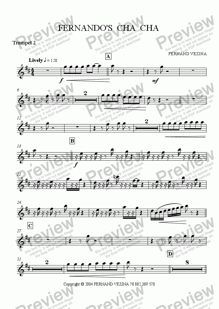page one of the Bb Trumpet 2 part from Fernando's Cha Cha