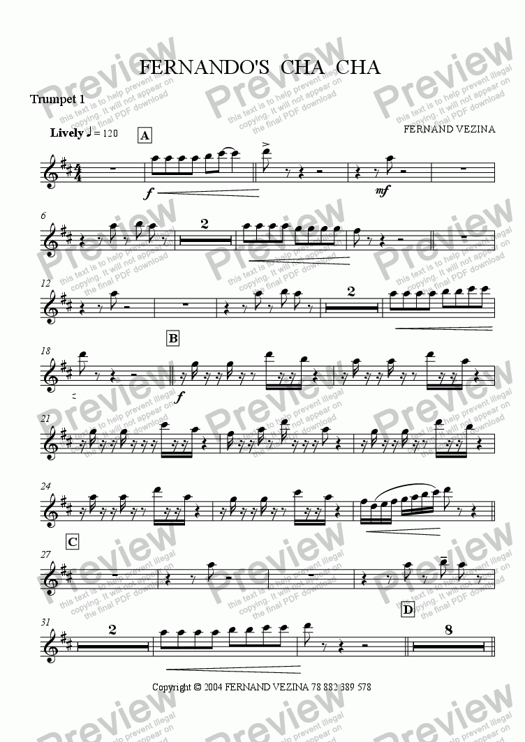 page one of the Bb Trumpet 1 part from Fernando's Cha Cha