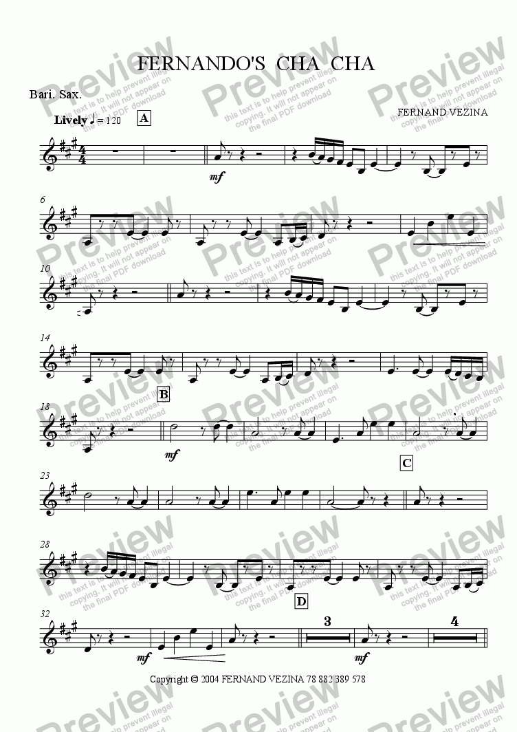 page one of the Eb Bari Sax part from Fernando's Cha Cha