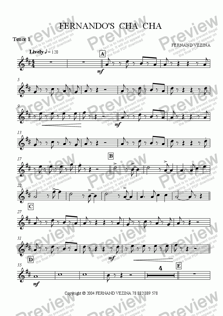 page one of the Bb TenorSax 1 part from Fernando's Cha Cha