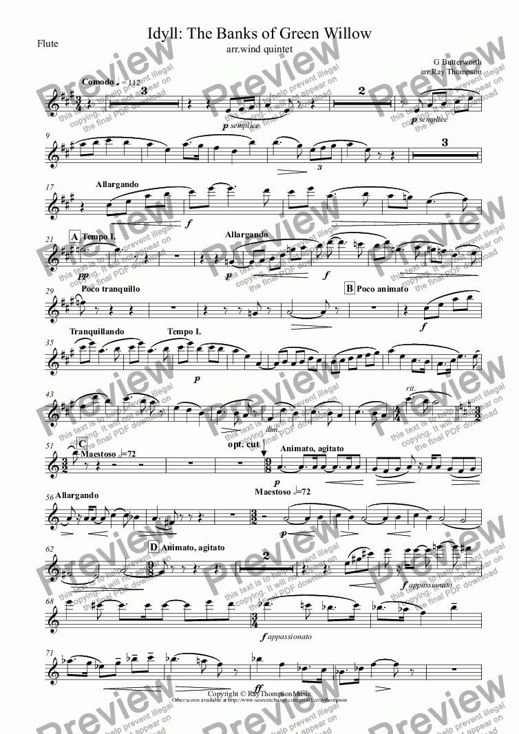 page one of the Flute part from Butterworth: The Banks of Green Willow (Idyll) (original key A major) (arr.wind quintet)