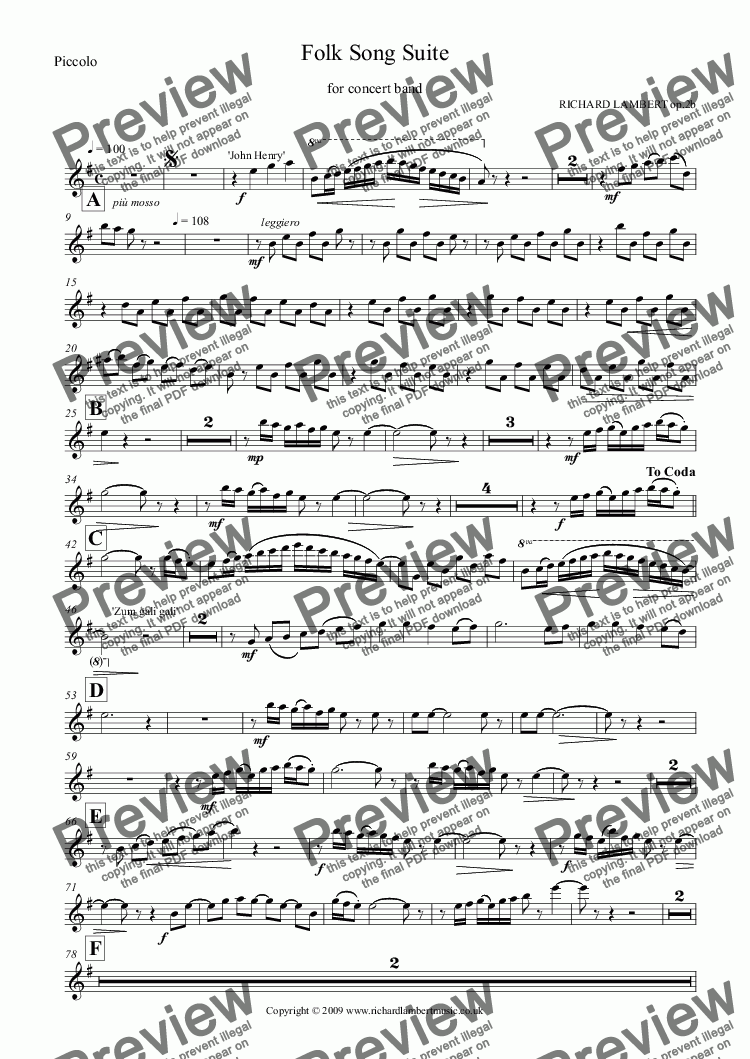 page one of the Piccolo part from Folk Song Suite for Concert Band