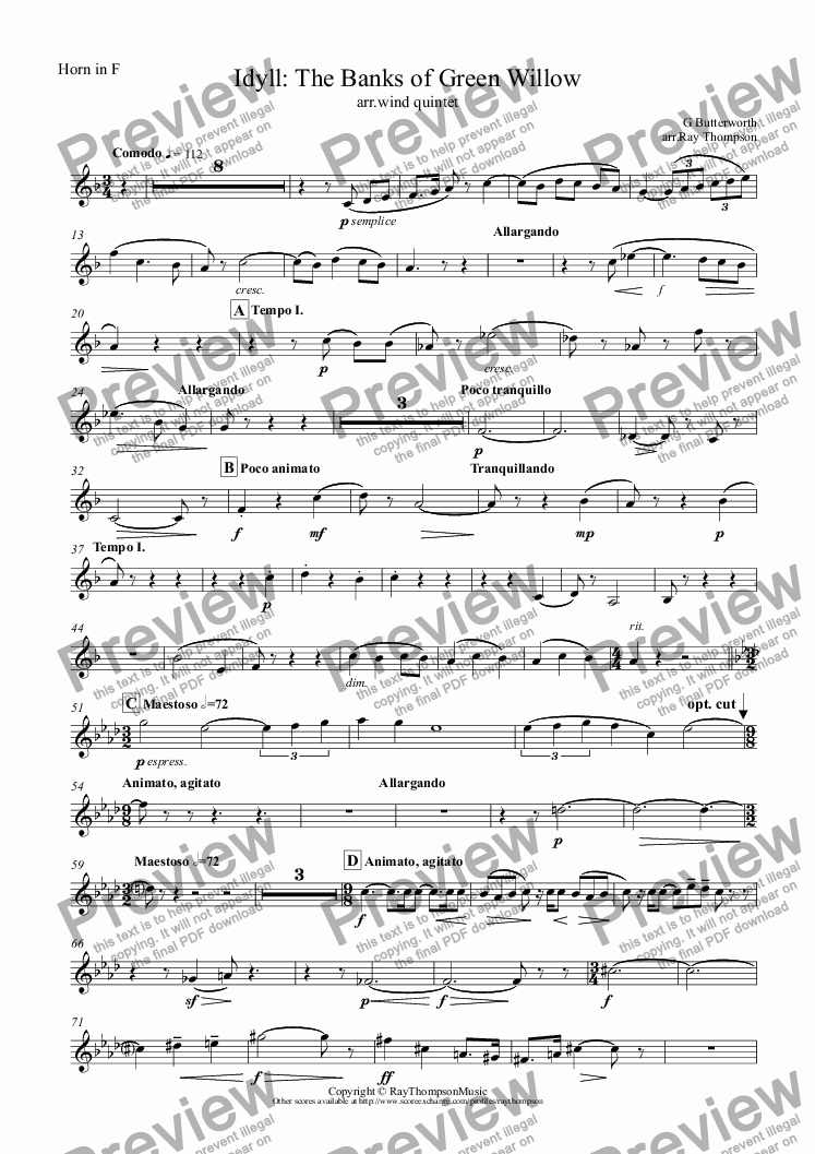 page one of the Horn in F part from Butterworth:: The Banks of Green Willow ( Idyll ) transposed into Bb arranged wind quintet