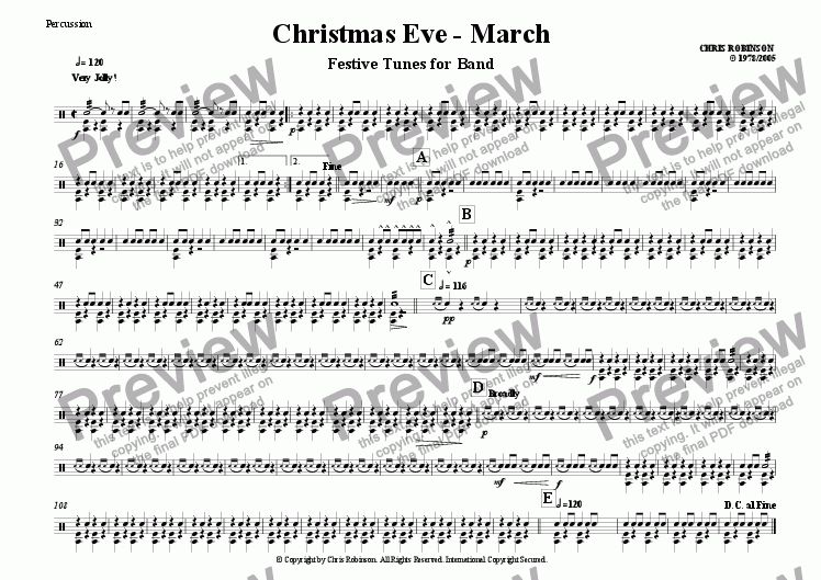 page one of the Percussion - BD - SD - Cymbals part from Christmas Eve - Festive Tunes for Marching Band