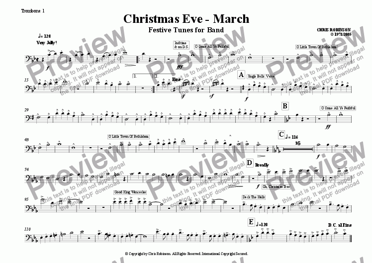 page one of the Trombone 1 part from Christmas Eve - Festive Tunes for Marching Band